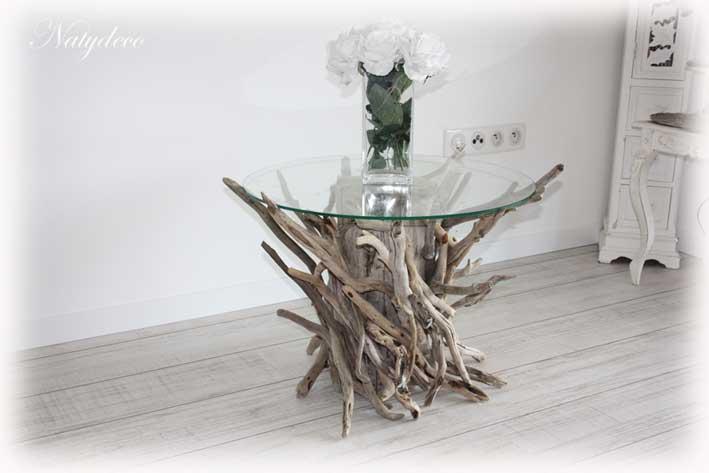 D co en bois flott - Grande table de salon en bois ...