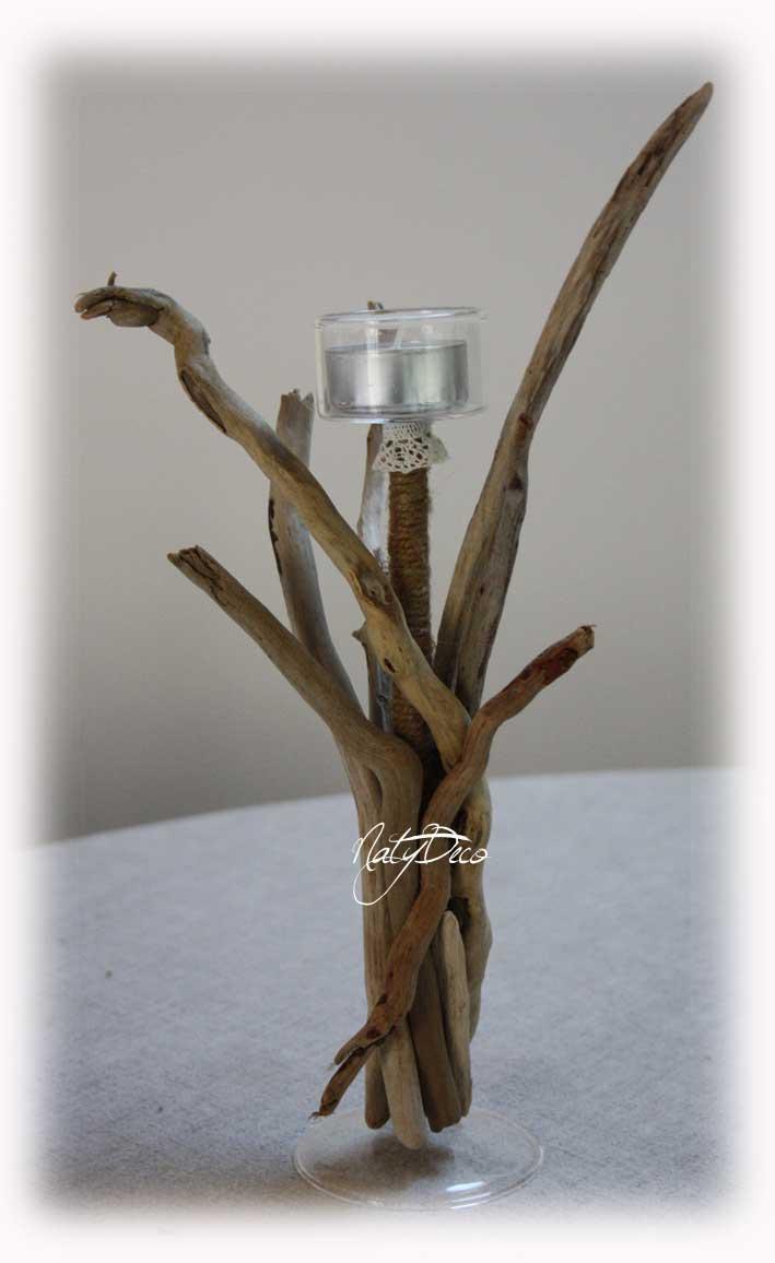 Bougeoir en bois flott for Creation bois flotte galets