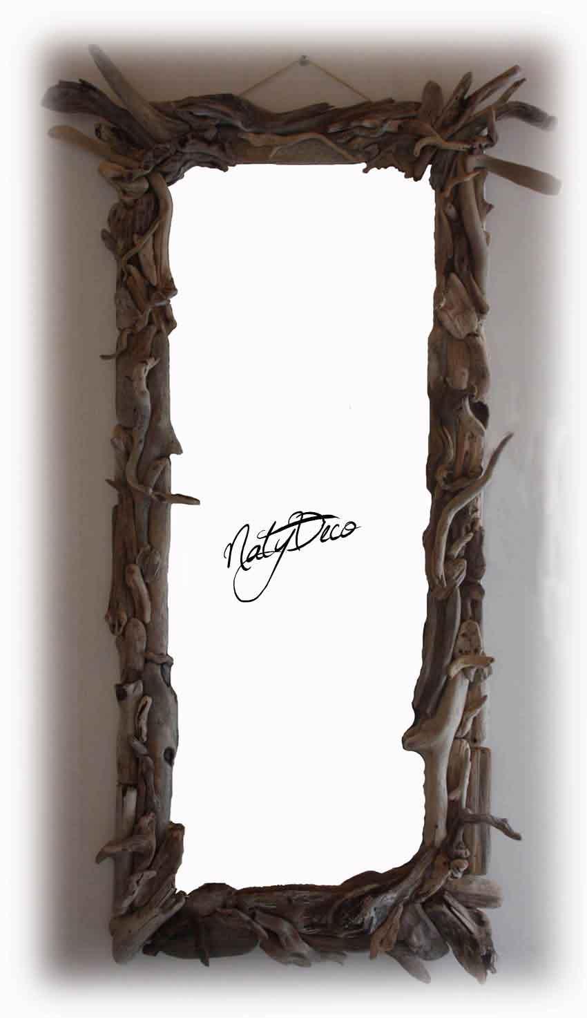 Miroir bois flott for Long miroir