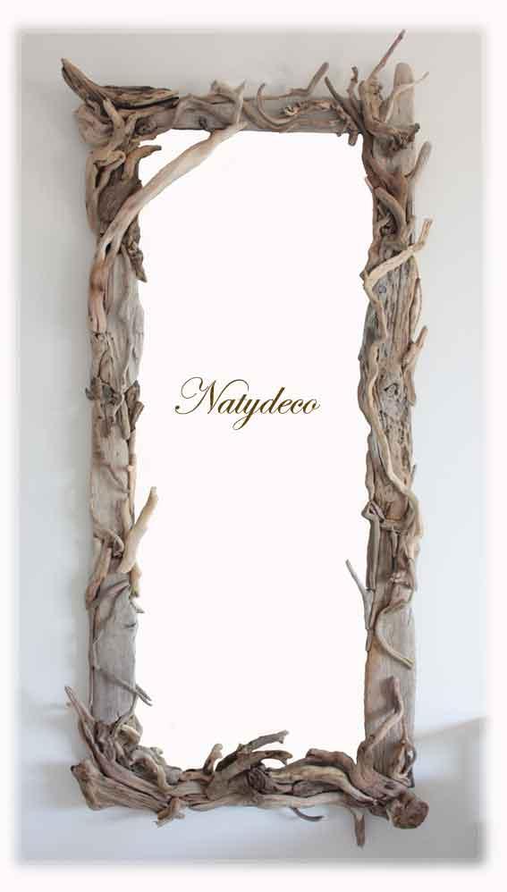 Miroir bois flott - Miroir cadre bois ...